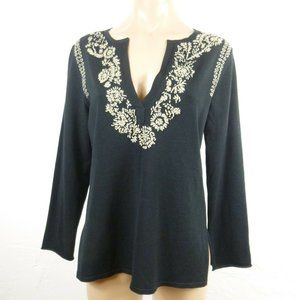 Chico's Sweater sz 1 S M Black Embroidered V-neck